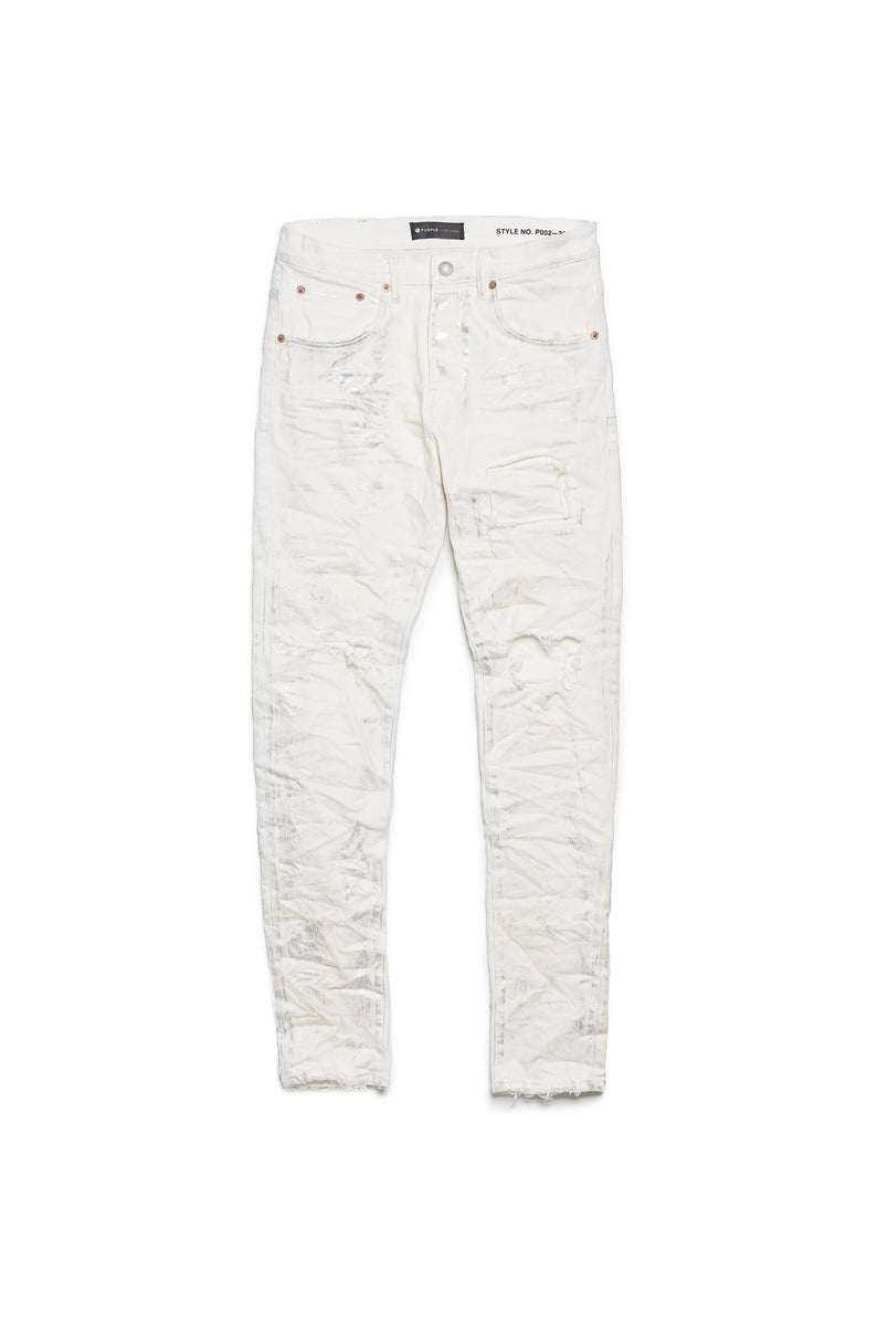 P002 MID RISE WITH TAPERED LEG - White Metallic Blowout