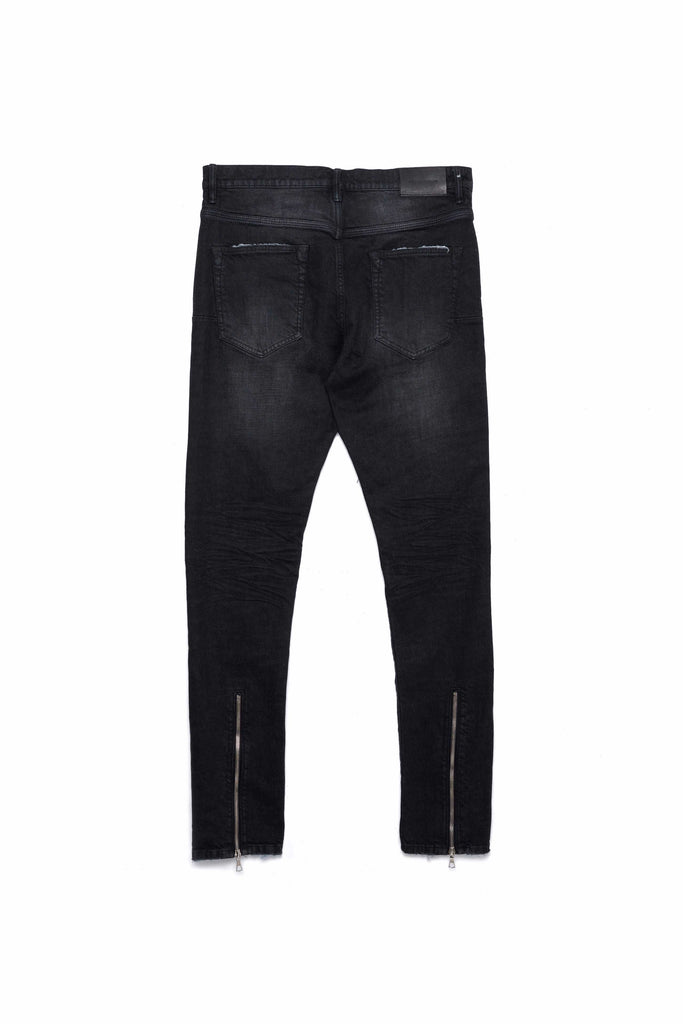P002 MID RISE WITH TAPERED LEG - Black Wash Zip