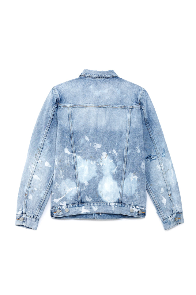 P006 DENIM JACKET - LIGHT WASH PAINT