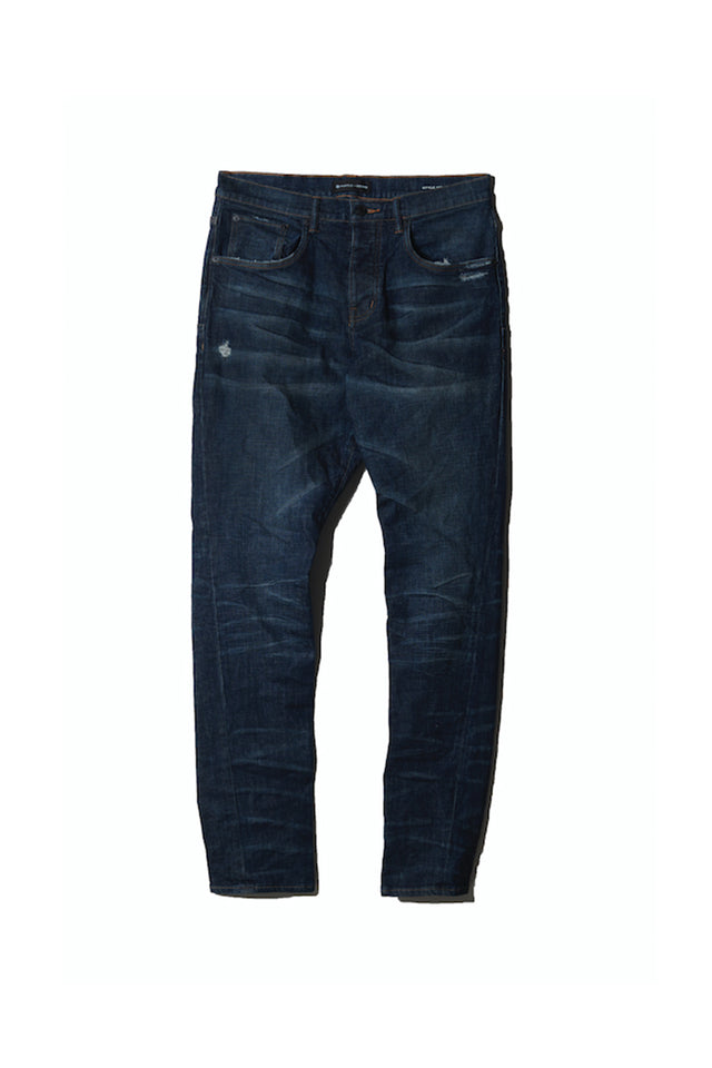 P011 MID RISE WITH TAPERED LEG - Black Indigo Wash Laser