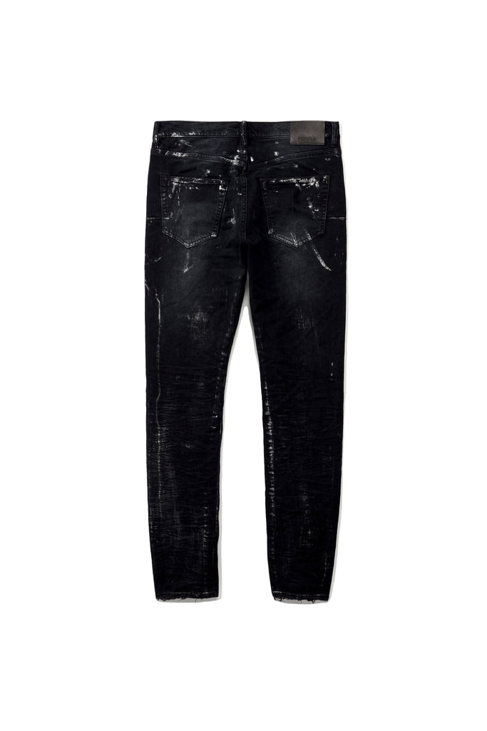 P001 LOW RISE WITH SLIM LEG - Black Wash Metallic Silver