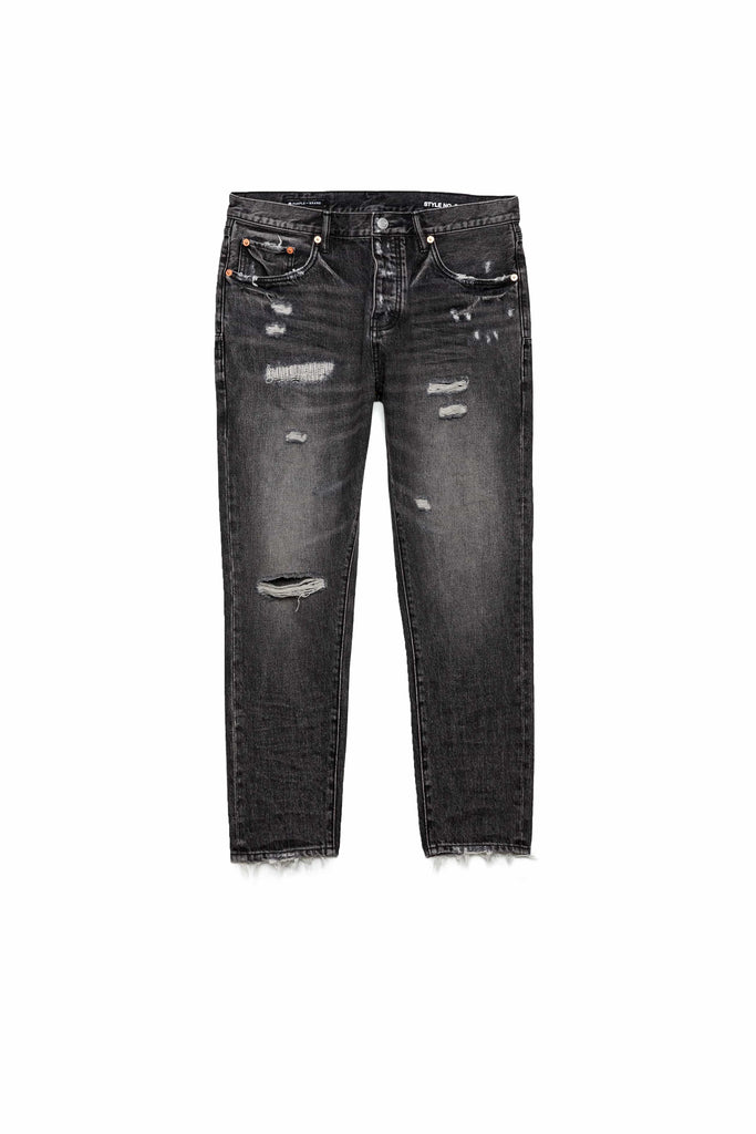P003 LONG RISE WITH TAPERED LEG - Black Vintage Distress