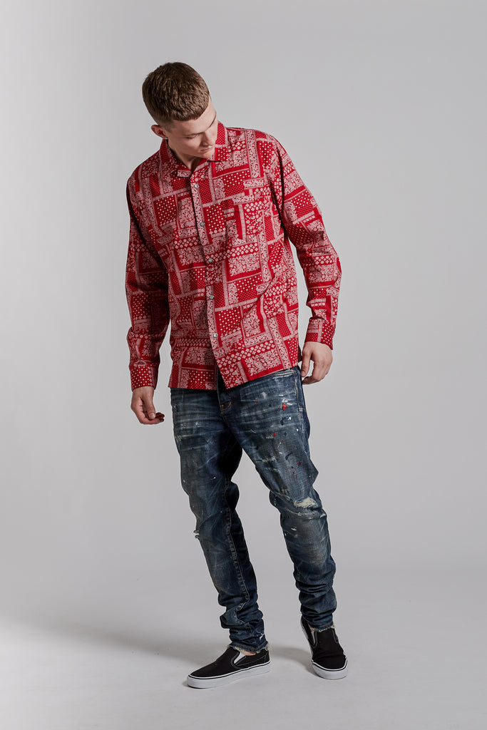 P305 RELAXED FIT - Bandana Shirt Red
