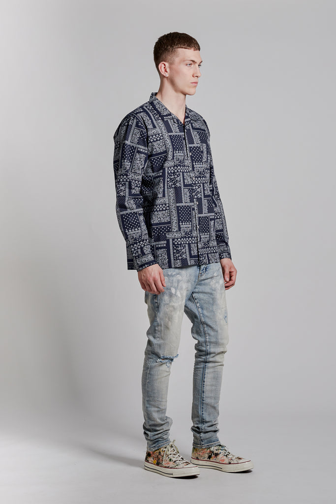 P305 RELAXED FIT - Bandana Shirt Blue