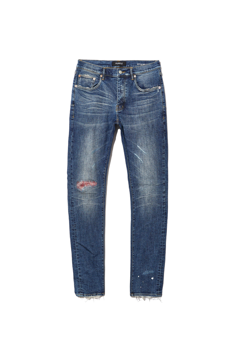P001 LOW RISE WITH SLIM LEG - Mid Indigo Paint Blowout