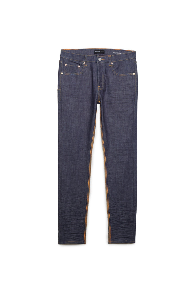 P001 LOW RISE WITH SLIM LEG - Raw Indigo Reverse Inseam