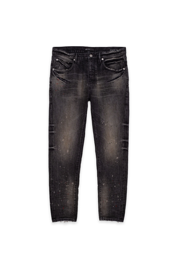 P003 LONG RISE WITH TAPERED LEG - Vintage Spotted Black Wash