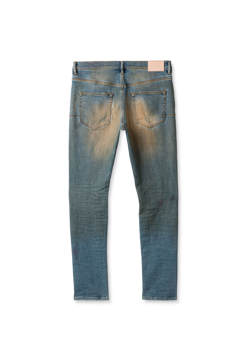 P002 MID RISE WITH TAPERED LEG - Mid Blue Patched