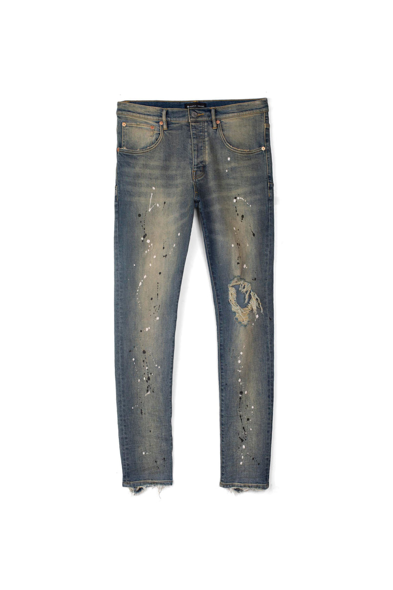 P002 MID RISE WITH TAPERED LEG - Mid Indigo Destroy Paint