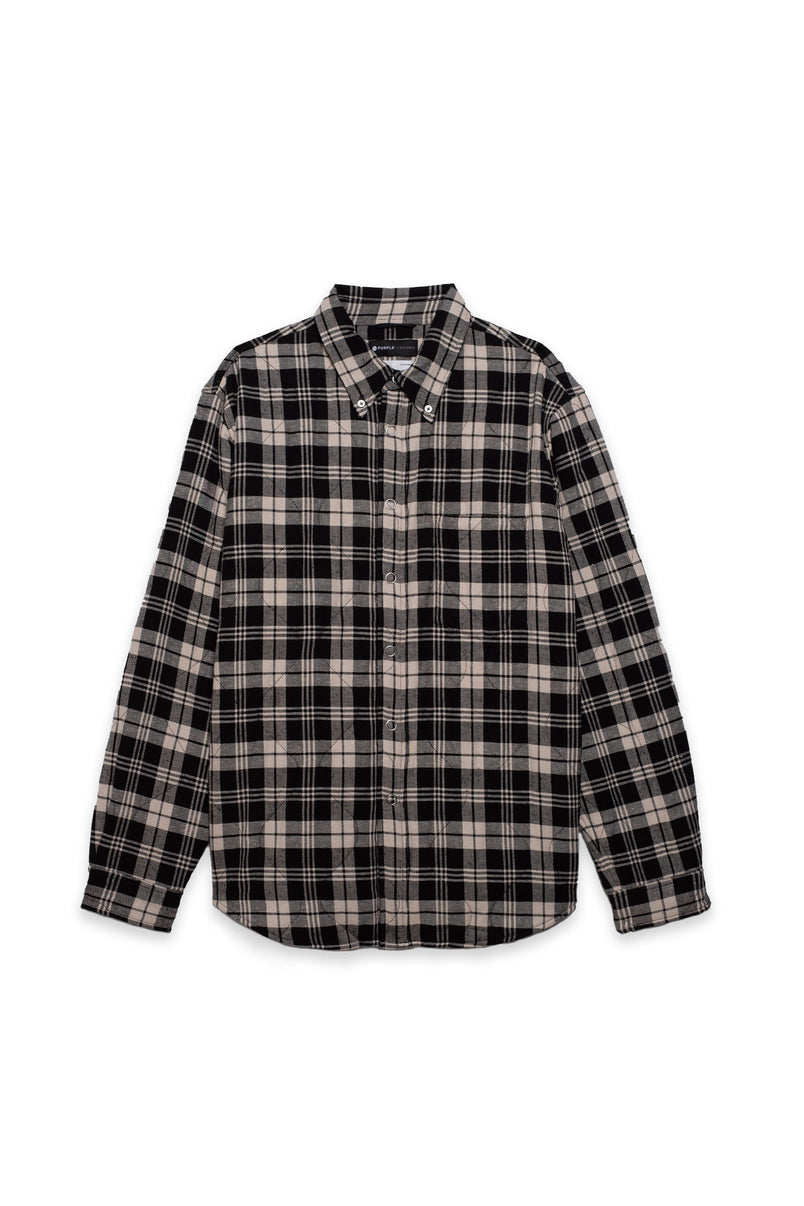 P313 Primaloft Quilted Oversized Shirt Jacket - Black/Off White Flannel