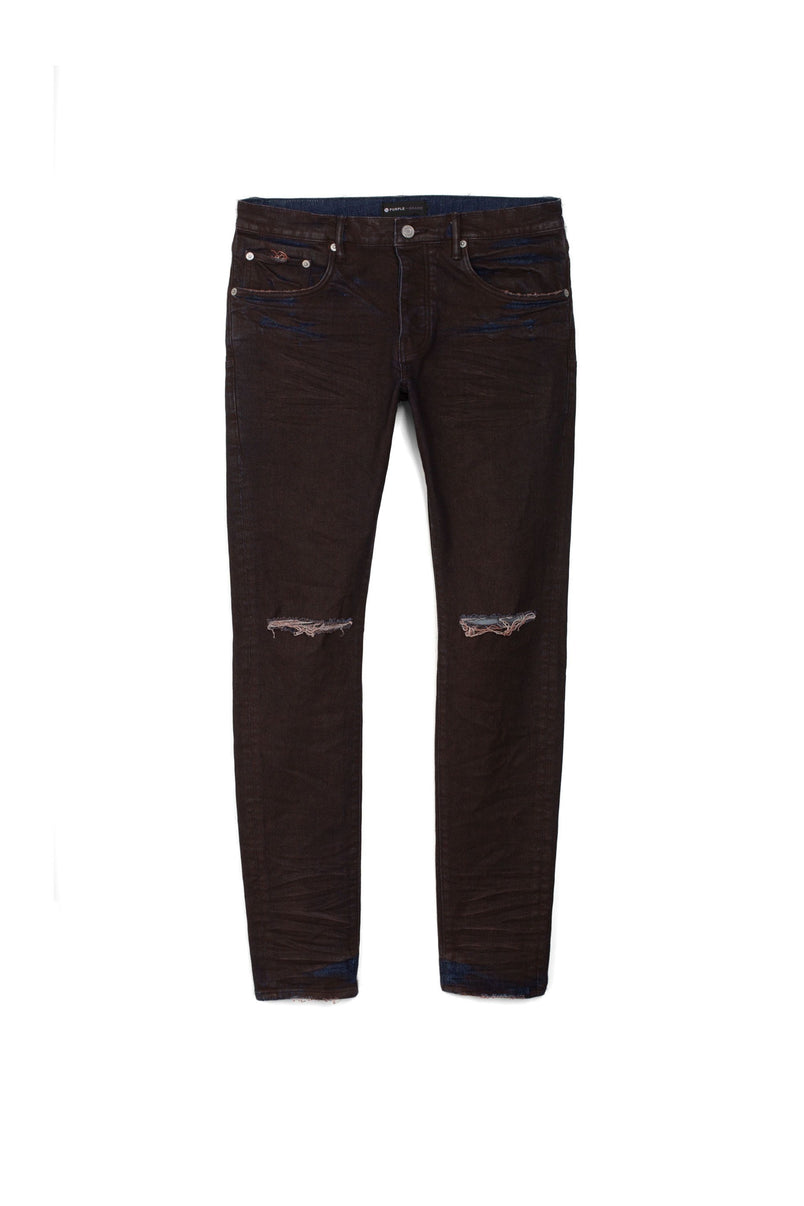 P001 LOW RISE WITH SLIM LEG - Red Oversprayed Indigo