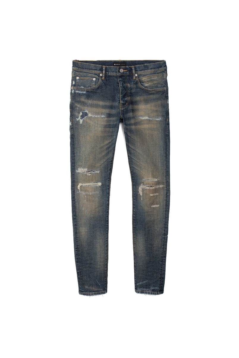 P001 LOW RISE WITH SLIM LEG - Dirty Indigo Repair