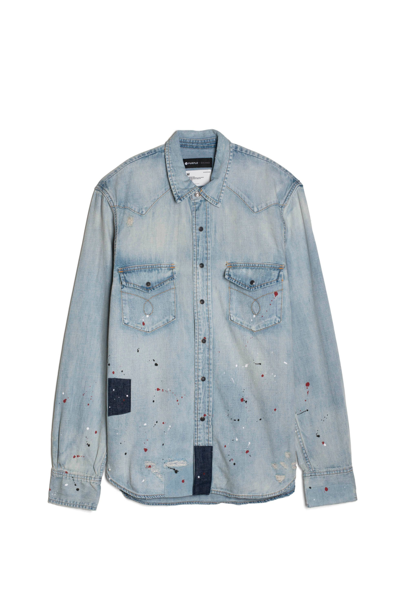 P009 DENIM SHIRT - Light Indigo Patch