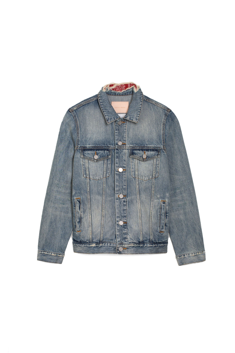P006 DENIM JACKET - Light Indigo Patched Distress