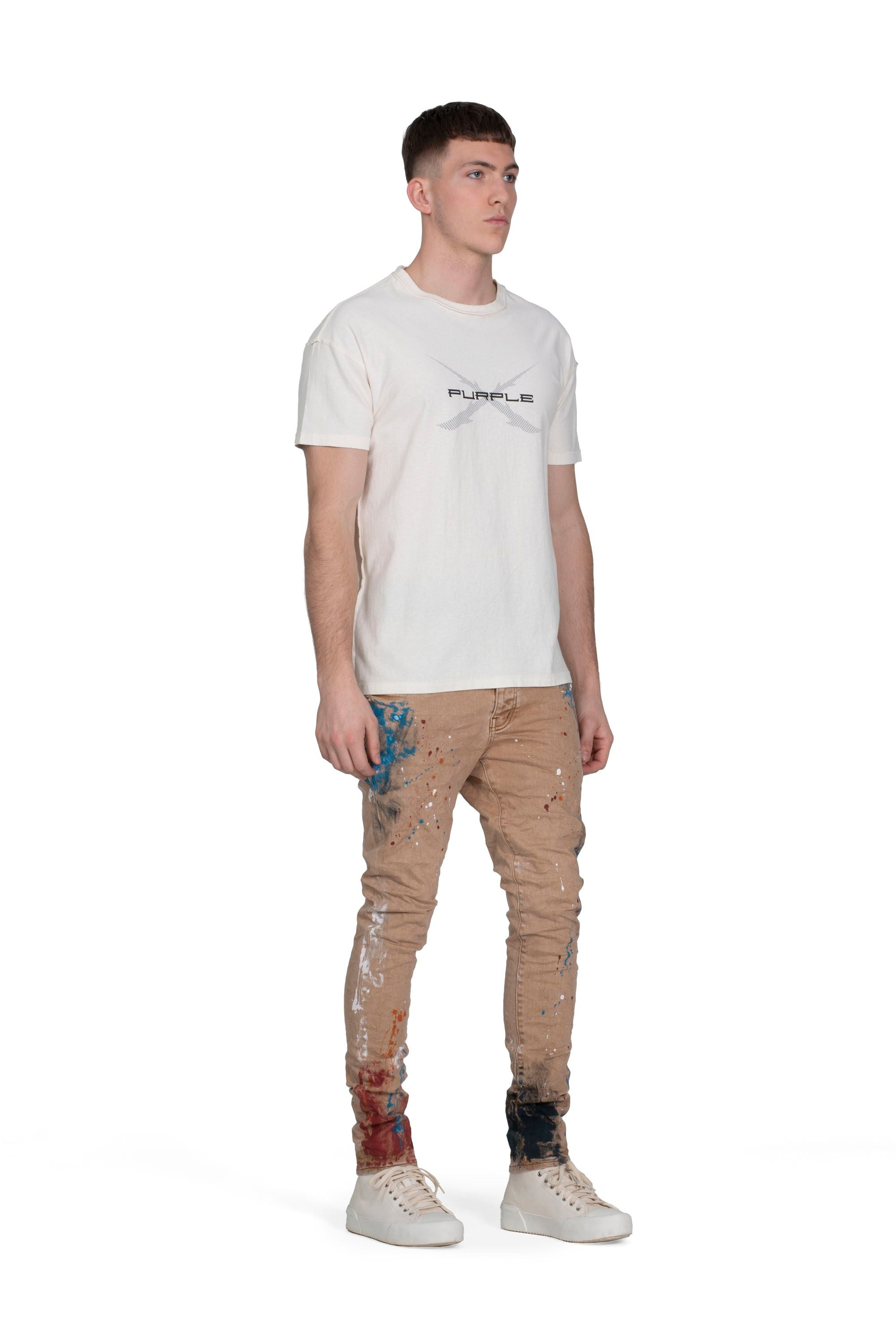P001 LOW RISE WITH SLIM LEG - SANDSTONE PAINT SPLATTER