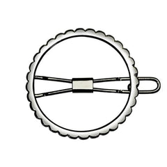 Scalloped Circle Barrette Silver Matte