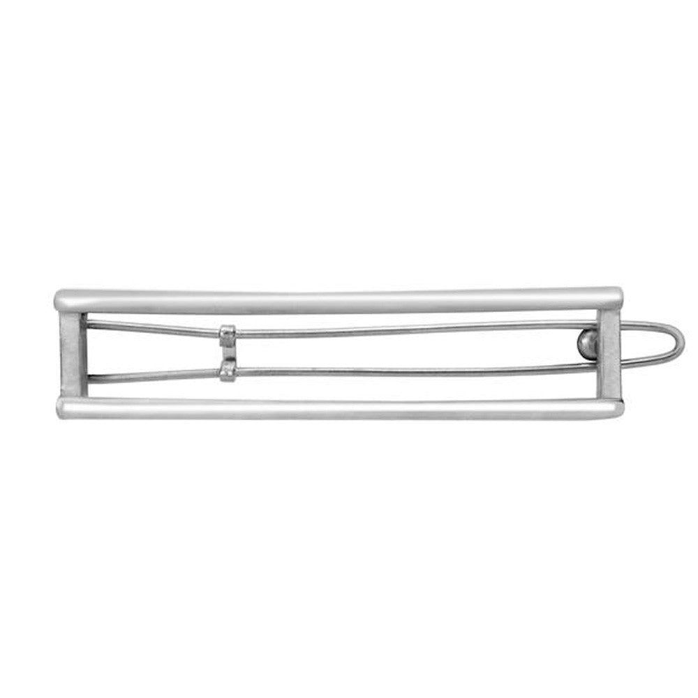 Rectangle Cut Out Barrette 2 Tone Silver