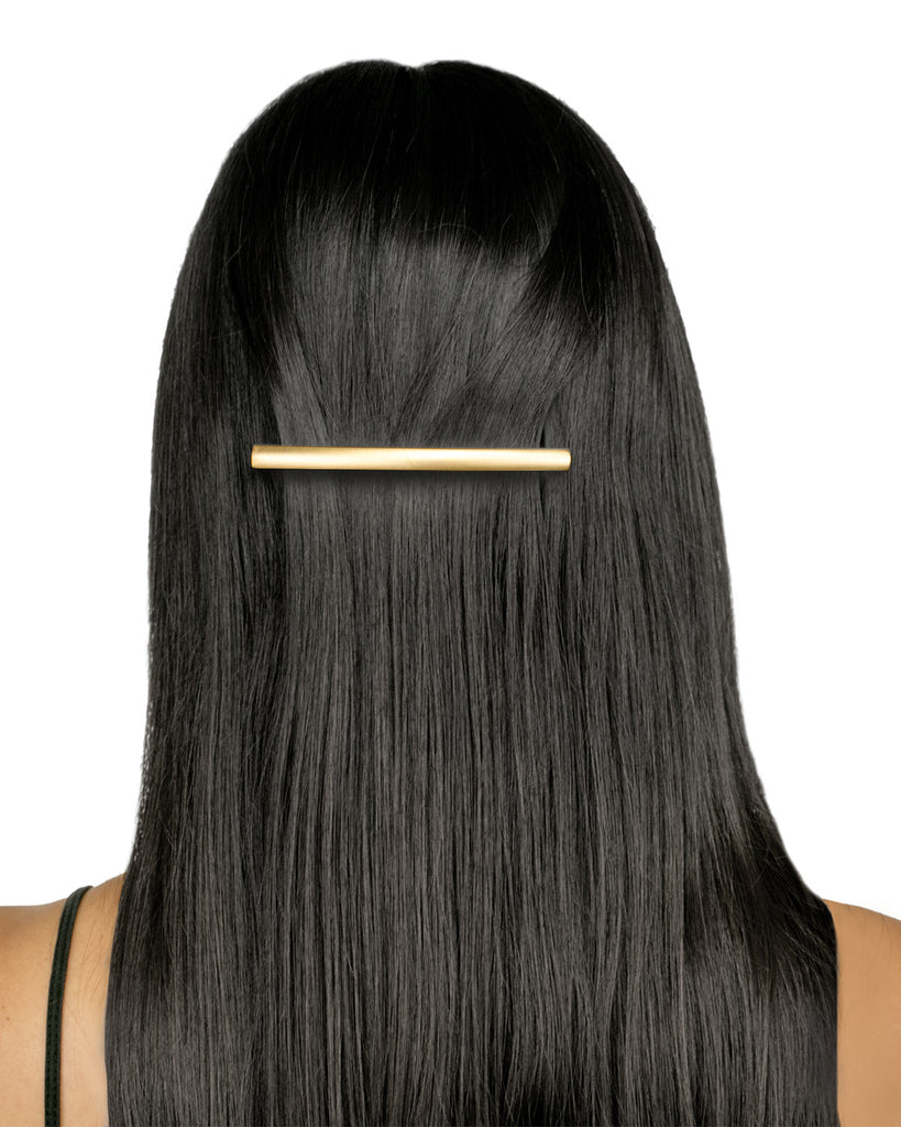 Model Thin Rectangle Barrette Gold Matte