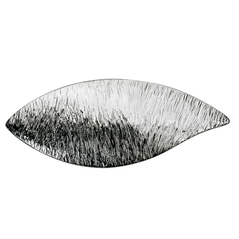 Leaf Barrette Shaved Silver