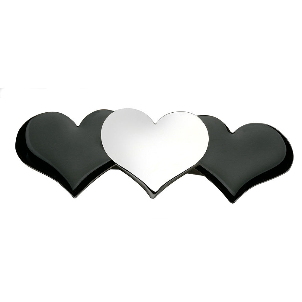 Hearts Barrette Silver and Shiny Black