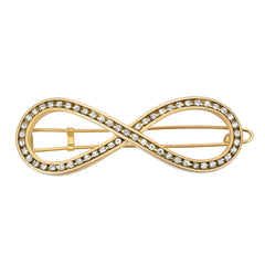 8 Barrette Gold with Crystals