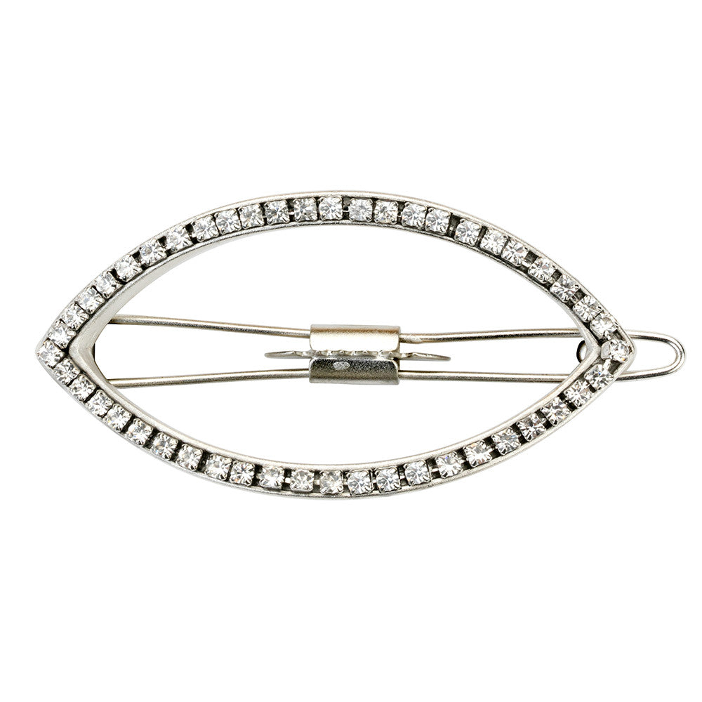 Eye Opener Barrette Silver with Crystals