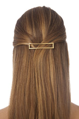 Rectangle Cut Out Barrette 2 Tone Gold