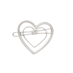 Golden Heart Barrette in Silver: New!