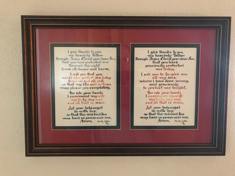 Matted and Framed Morning and Evening Prayer