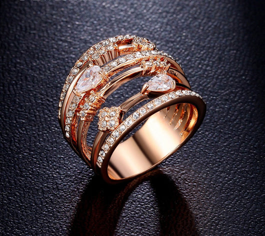 Vintage Rose Gold Plated Fashion Ring-FlexOwl