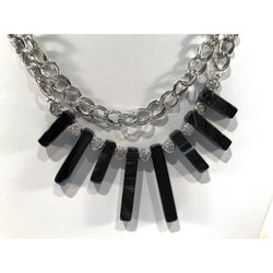 Agate Fringe Double Chain Necklace - Snowbird Studio