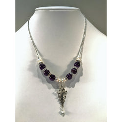 Amethyst and Pearl Sterling Silver Flourish Necklace and Earrings - Snowbird Studio