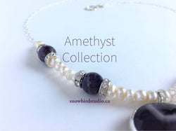 Amethyst and Pearl Sterling Silver Necklace and Earring Set - Snowbird Studio