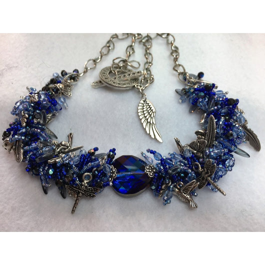 Blue Garden Themed Necklace with Swarovski Crystals - Snowbird Studio