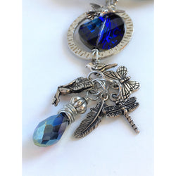Bohemian Blue Charm & Leather Necklace with Swarovski Crystal-Swarovski-Snowbird Studio-Snowbird Studio
