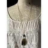 Brass Leaf and Iolite Necklace and Earring Set - Snowbird Studio
