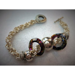 Chainmail and Swarovski Crystal Bracelet - Snowbird Studio
