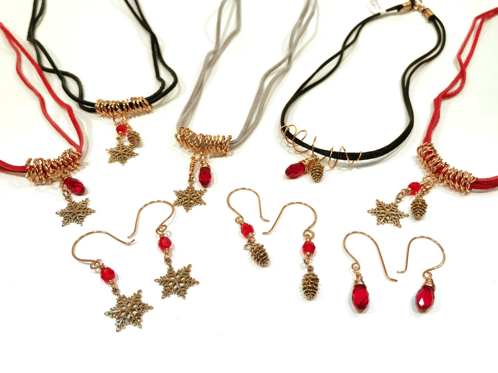 3467e149f Christmas Earrings In Bronze With Pine Cone And Red Swarovski Crystal – Snowbird  Studio