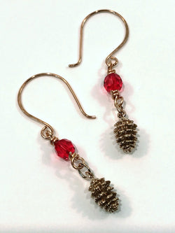 Christmas Earrings In Bronze With Pine Cone And Red Swarovski Crystal - Snowbird Studio