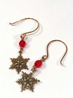 Christmas Earrings In Bronze With Snowflake And Swarovski Crystal - Snowbird Studio