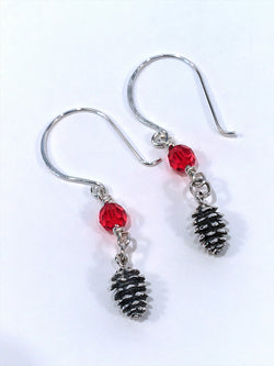 Christmas Earrings In Sterling Silver With Pine Cone Charm And Swarovski Crystal - Snowbird Studio
