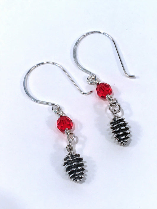 acec3f7af Christmas Earrings In Sterling Silver With Pine Cone Charm And Swarovski  Crystal - Snowbird Studio
