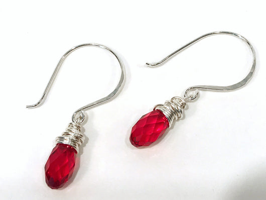 Christmas Earrings In Sterling Silver With Red Swarovski Crystal - Snowbird Studio
