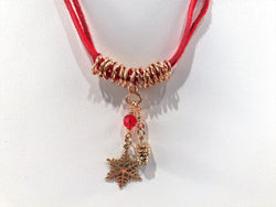 Christmas Necklace In Bronze With Snowflake And Pine Cone Charms - Snowbird Studio