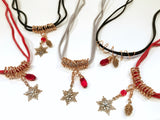 Christmas Necklace In Bronze With Snowflake And Swarovski Crystal Charms - Snowbird Studio