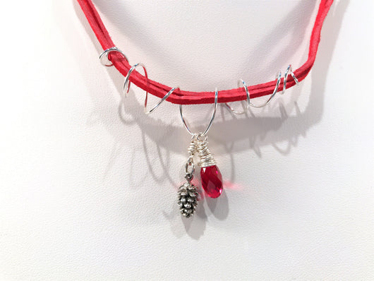 Christmas Necklace With Sterling Silver Pine Cone And Red Swarovski Crystal Charms - Snowbird Studio