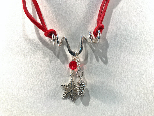 Christmas Necklace With Sterling Silver Snowflake And Pine Cone Charms - Snowbird Studio