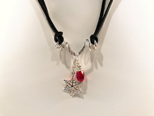 Christmas Necklace With Sterling Silver Snowflake And Swarovski Crystal Charms - Snowbird Studio