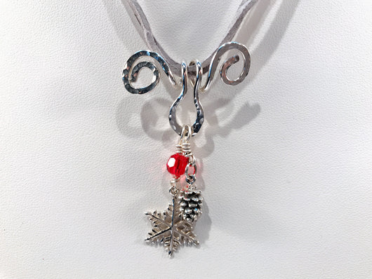 Christmas Reindeer Necklace With Sterling Silver Snowflake And Pine Cone Charms - Snowbird Studio