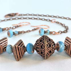 Copper and Turquoise Chain Necklace and Earrings-Copper-Snowbird Studio-Snowbird Studio